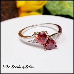 🆕️ Sterling Silver Orange CZ Heart Ring Size 7